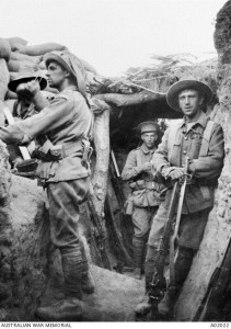 Australian troops in the Lone Pine trenches (image, courtesy of the Australian War Memorial)